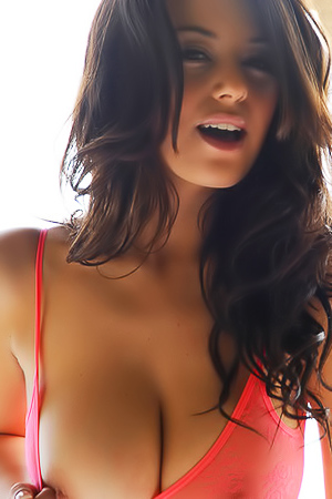 Wonderful busty brunette stripping